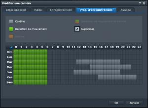 Programmation horaire de la Synology Surveillance Station